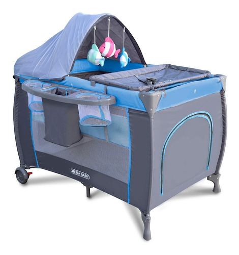 practicuna megababy plus plegable bebé azul con colchon