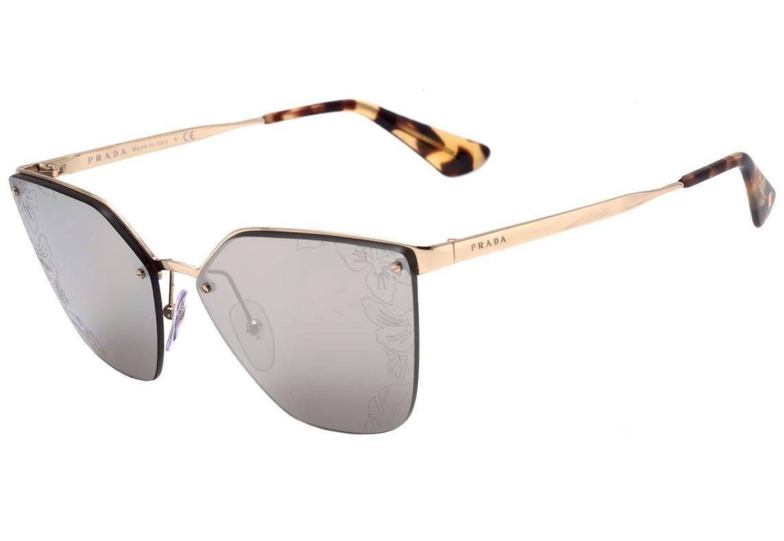 70ac8e6829244 Prada Pr 68ts - Óculos De Sol Zvn 121 Prata Brilho  Cinza Es - R ...