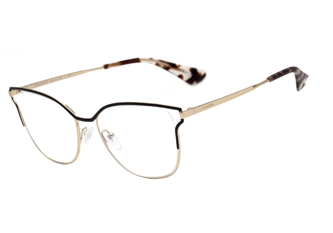 2faf75ba8 Prada Pr 54uv - Óculos De Grau Qe3 1o1 Preto E Dourado - R$ 725,40 ...