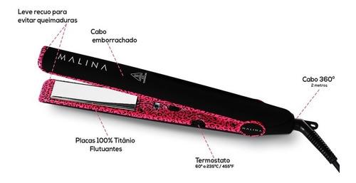 prancha alisadora malina elite pink leopard+ pente de carbo