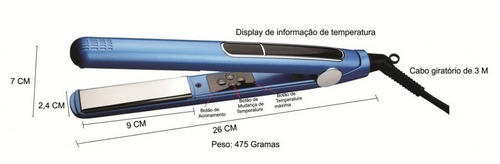 prancha / chapinha profissional lizze® nano titanium 465°f