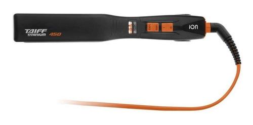 prancha de cabelo taiff titanium 450 laranja e preta com placas de cerâmica 110v/220v
