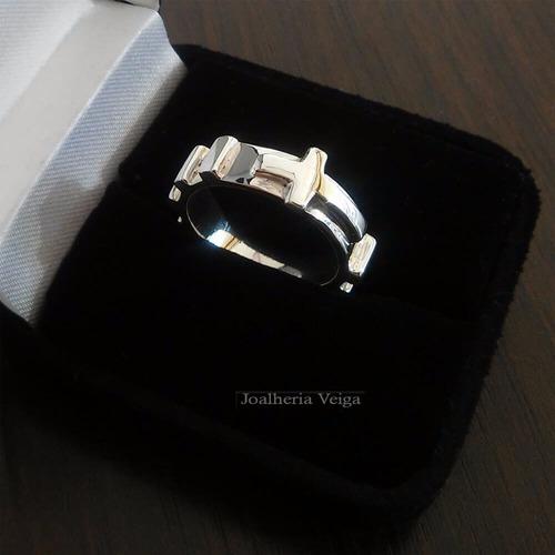 prata anel anel masculino