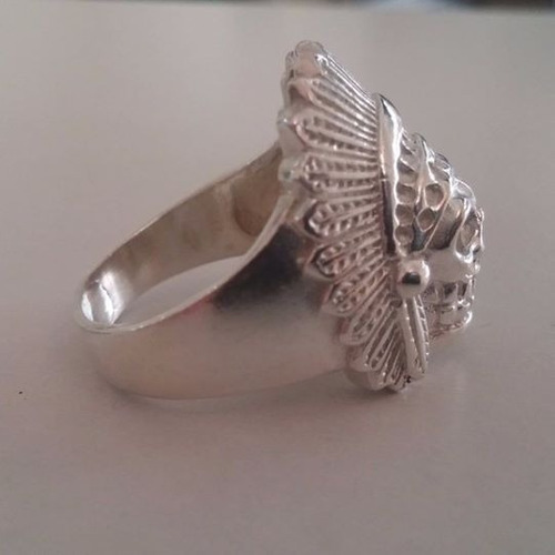 prata anel caveira