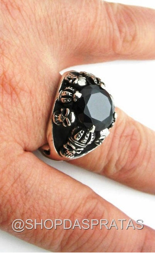 prata caveira anel