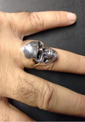 prata caveira anel masculino