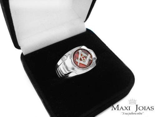prata masculino anel maçonaria