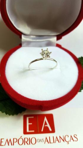prata solitário anel