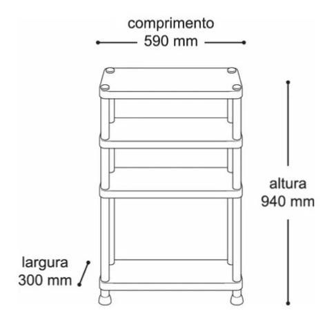 prateleira 3 andar estante plastica modular resistente preta