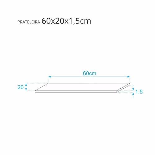 prateleira crie fácil azul 60cmx20cm com suporte invisível