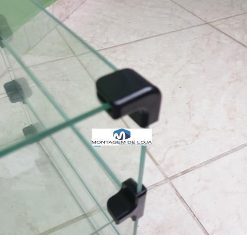 prateleira de vidro modulado e temperado 1,00mts