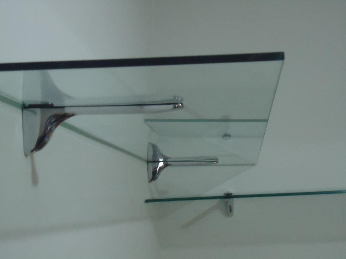 Estante De Vidro Temperado : Prateleira de vidro temperado  e suporte cromado r
