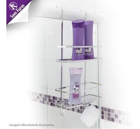 prateleira dupla porta shampoo p/ o box