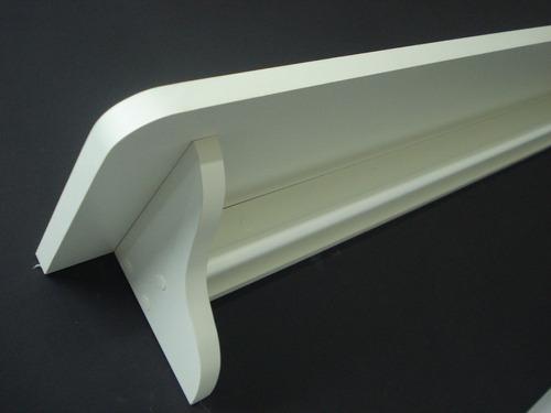 prateleira mdf branco com cabideiro (varão) med. 80 x 20