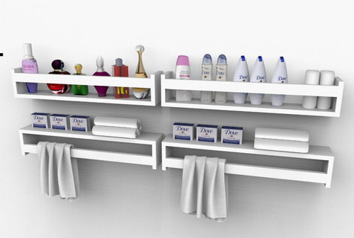 prateleira nicho banheiro cosméticos perfume 60cm 2 peças