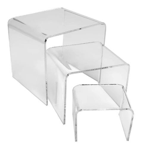prateleira plataforma acrílico vitrine 3 peças