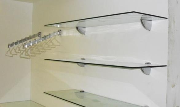 Estante De Vidro Temperado : Prateleira vidro temperado lapidado mm  peça r