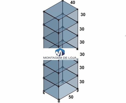 prateleira vitrine de vidro modulado 0,50x1,80x0,40