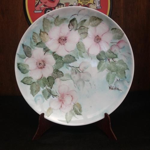 prato antigo pintado a mão porcelana aurora flor 1985.