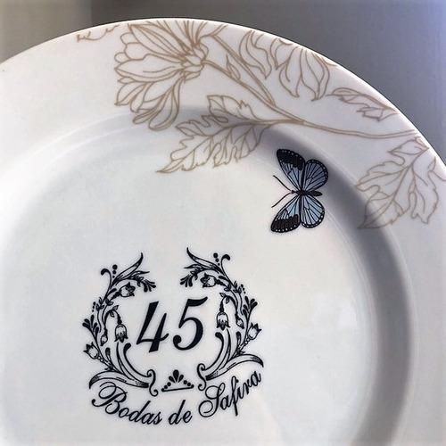 prato borboleta bodas de safira 45 anos de casamento