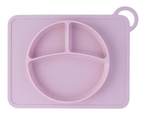 prato com divisórias silicone rosa 2,2x27,8cm - a/baby