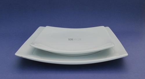 prato de porcelana quadrado - jogo de 3 pecas
