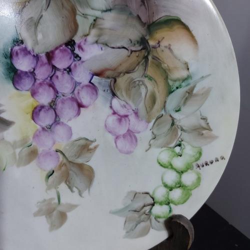 prato de pudim antigo pintura a mão porcelana aurora.