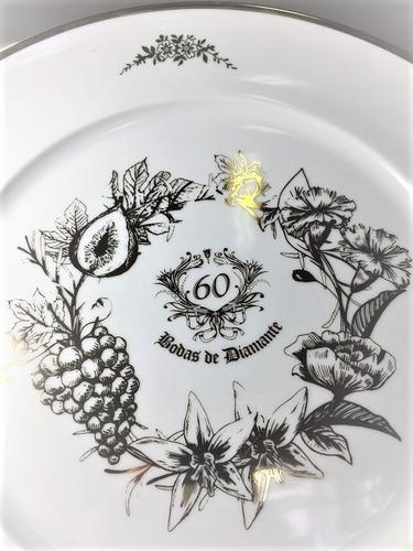 prato decorativo bodas de diamante 60 anos de casamento