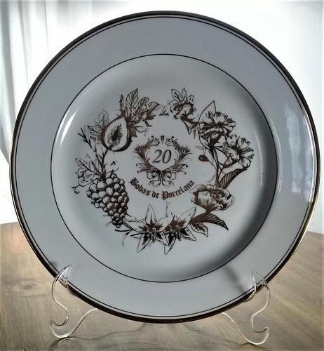 prato decorativo bodas de porcelana, 20 anos de casamento