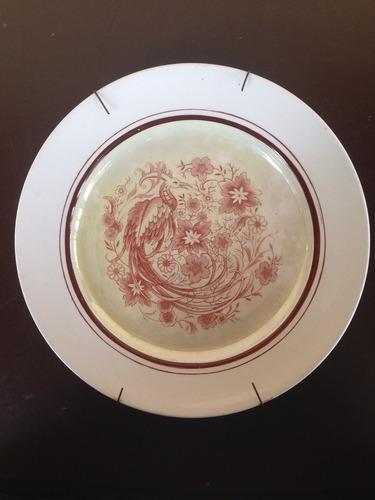 prato decorativo pavão e flores (0412)