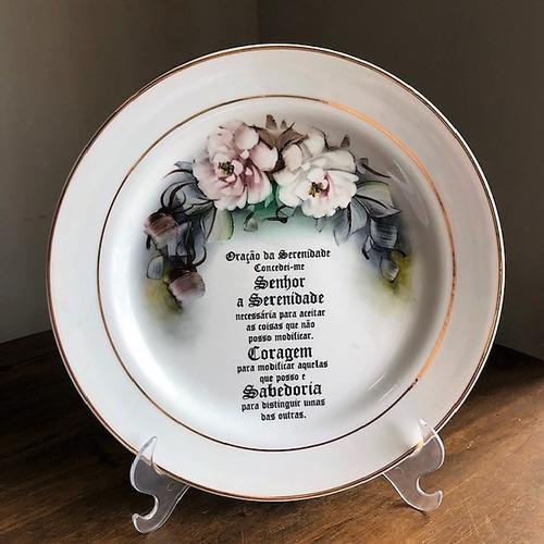 prato decorativo pintado a mão 25,5cm - p34