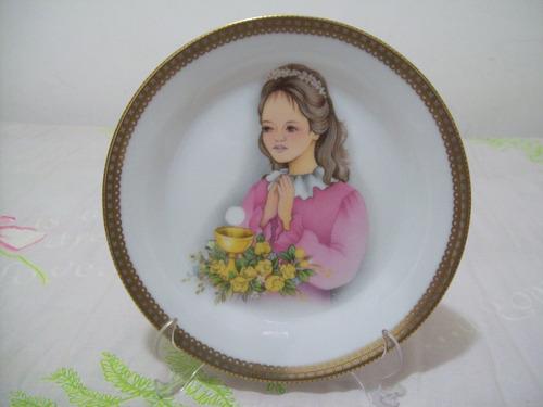 prato decorativo porcelana  1º eucaristia - menina - 19 cm