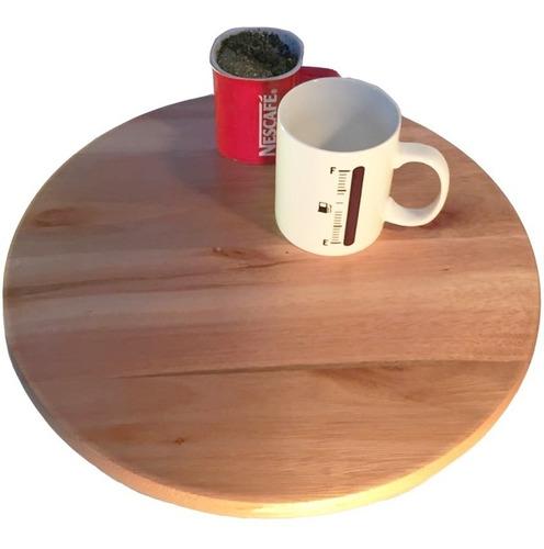 prato giratório centro de mesa madeira tabaco 36cm luxo