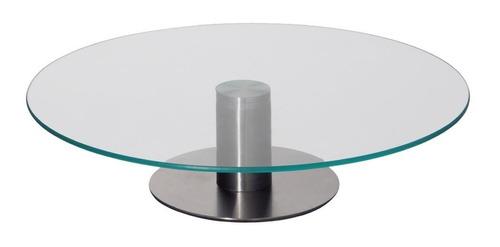 prato giratório de vidro  para bolo com base em aço inox