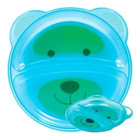 Prato Infantil Pratinho Bebe Divisória Azul Refeição Buba