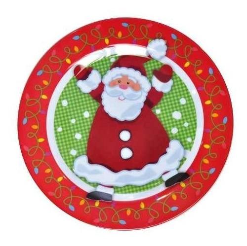 prato mesa natal melamina 25cm vermelha