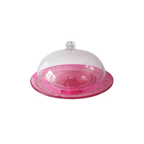 prato para bolo vidro fine decor with cover pink 33 x 26 cm