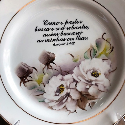 prato pintado a mão com frase ezequiel 25,5cm
