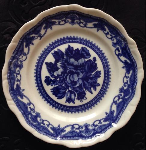 prato porcelana antiga steatita 15cm azul floral