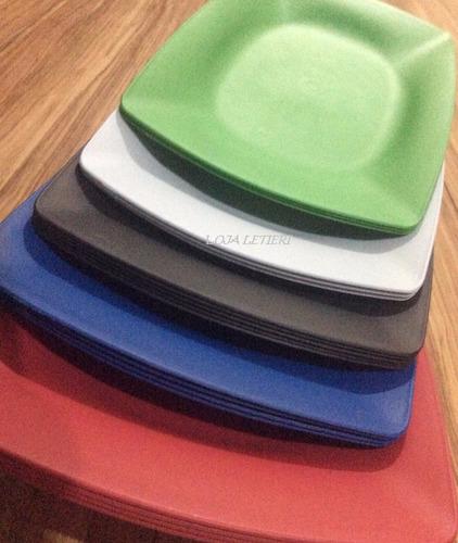 prato retangular bandeja plastico porção festa  kit com 50
