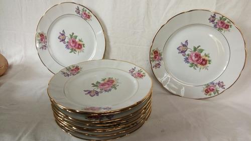 pratos de jantar  antigos com rosas e ouro(preço unitário)
