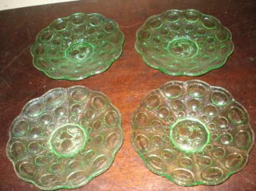 pratos de sobremesa de vidro verde(preço unitário)