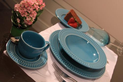 pratos porto brasil roma azul poppy raso e sobremesa 12uni