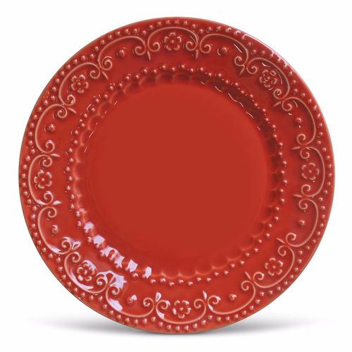 pratos rasos e sobremesa porto brasil esparta vermelho 12uni