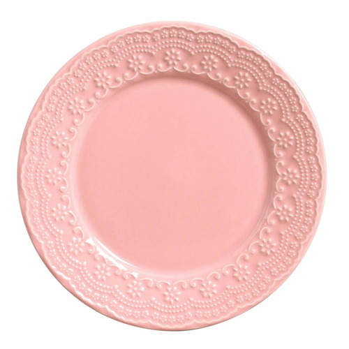 pratos rasos e sobremesa porto brasil madeleine rosa 6 unid