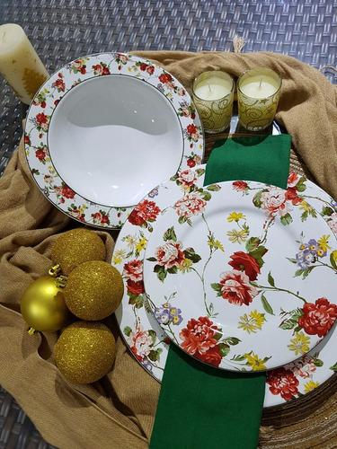 pratos rasos flat verona porto brasil cerâmica com 6 peças