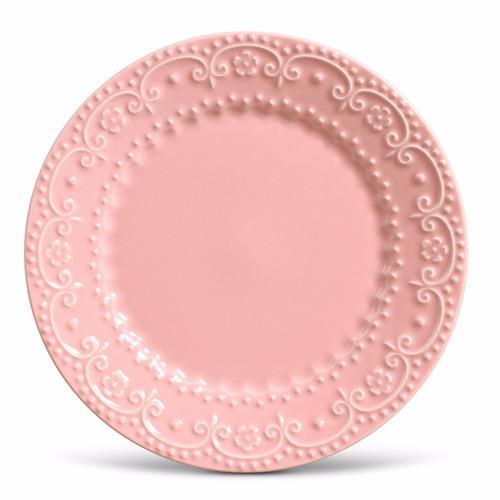 pratos rasos porto brasil esparta rosa com 12 unidades