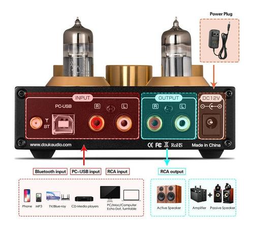 pré amp p1 hifi bluetooth 5.0 vacuum tube usb dac aptx