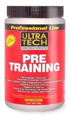 pre training x 450 g suplemento pre entreno fuerza y volumen  ultra tech contiene aminoácidos y vitaminas
