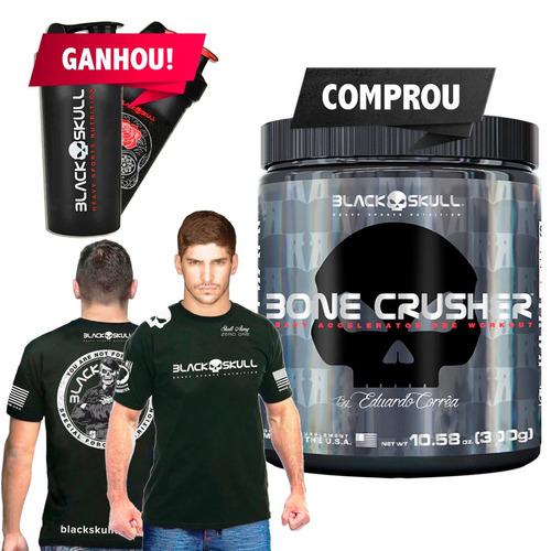 pre treino - bone crusher - black skull importado + brindes